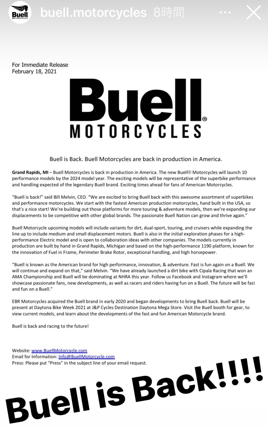 Buell is Back!!!!